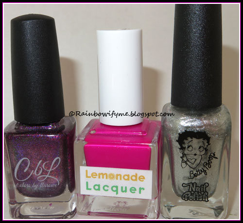 Colors by Llarowe: Who Needs Love; Lemonade Lacquer: Going Bananas; Betty Boop: Diva