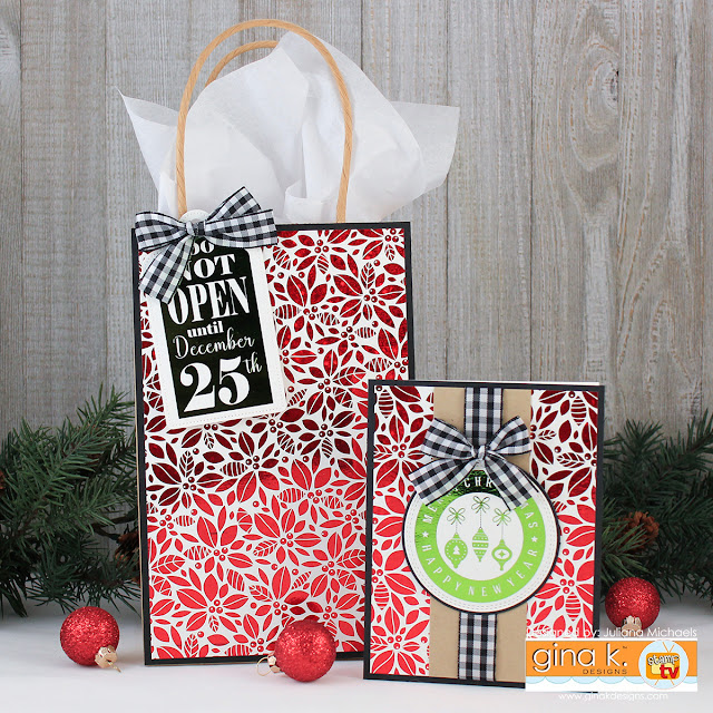 Coordinating Christmas Gift Bag and Christmas Card by Juliana Michaels featuring Gina K. Designs Foil-Mates™ and Fancy Foils