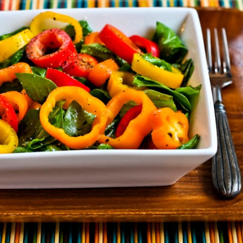 Arugula and Sweet Mini Pepper Salad found on KalynsKitchen.com.