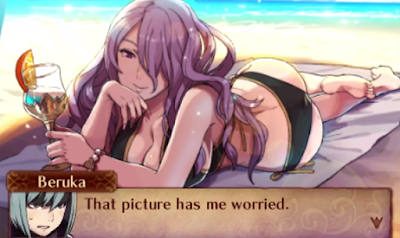 Fire Emblem Fates Beach Brawl Camilla swimsuit Beruka worried English version