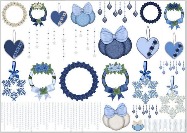 Christmas Ornaments in Blue.