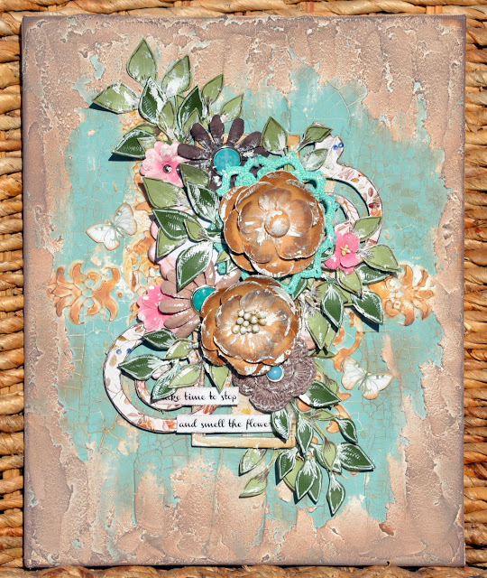 Mixed Media Canvas by Denise van Deventer using BoBunny Serendipity and Pentart Products