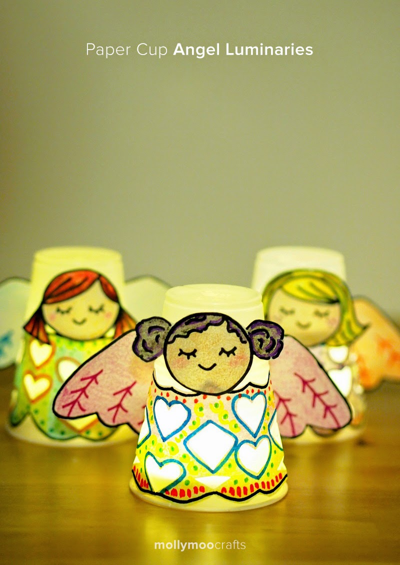 Angel craft paper cup angel luminaries pink stripey socks - Cups and kids ...