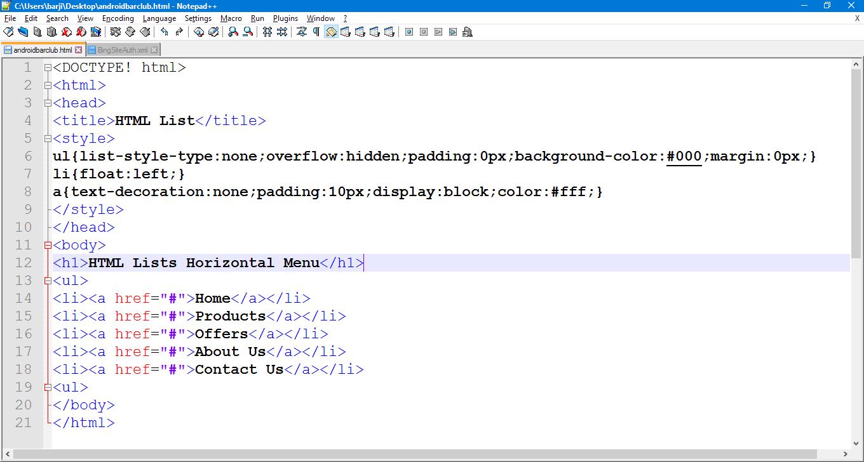 html menu tag