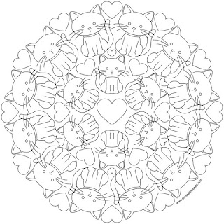 Kitty mandala to print and color- available in jpg and transparent png format.