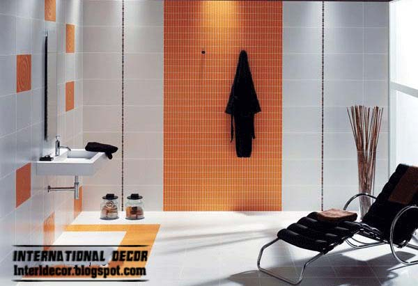 ... Latest Orange Wall Tiles Designs Ideas For Modern Bathroom   Home   Orange  Bathroom Ideas ...