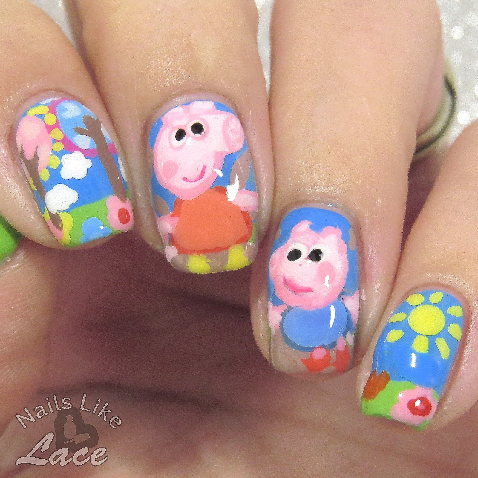 NailsLikeLace: 40 Great Nail Art Ideas: Kids\' T.V. - Peppa Pig Nails