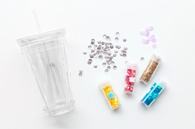 Materials for DIY floating glitter tumbler
