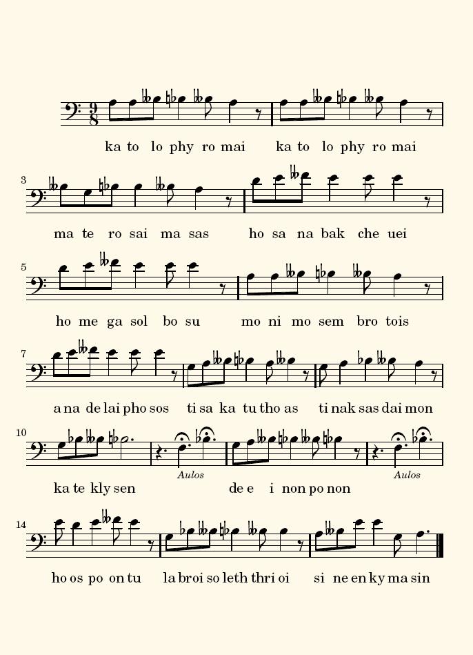 Figura 10.  Partitura de la reconstrucción del fragmento del coro del Orestes de Eurípides.
