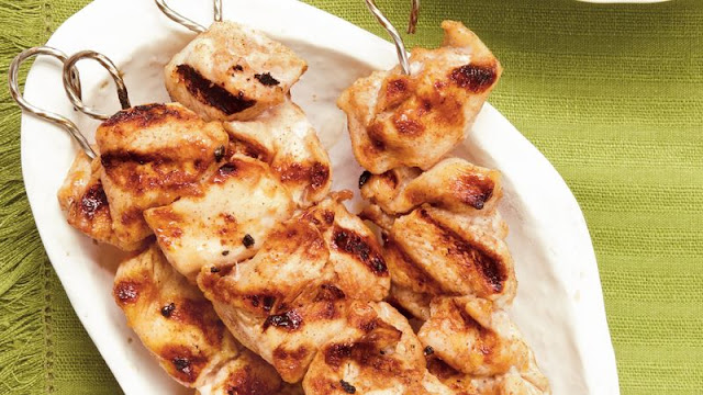 Enjoy these grilled chicken kabobs flavored with spices Moroccan Chicken Kabobs Recipe