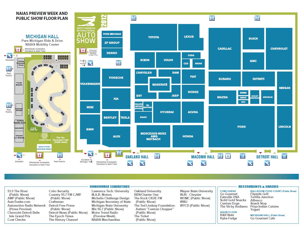 Auto Motor Show North American International Auto Show Naias Schedule Floor Plans