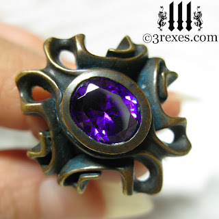 The Empress Vampire brass ring with japanese amethyst faceted stone