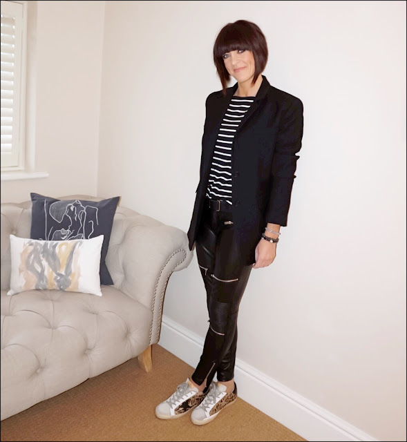 My Midlife fashion, hm breton top, zara oversized wool blazer, zara faux leather biker trousers, black leather belt, golden goose superstar distressed leather panelled calf hair trainers