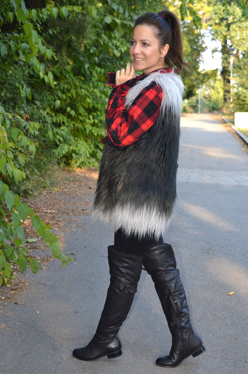 outfit faux fur vest red plaid shirt