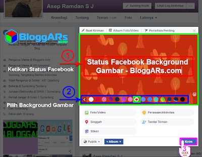 Membuat Status Facebook Background Gambar PC
