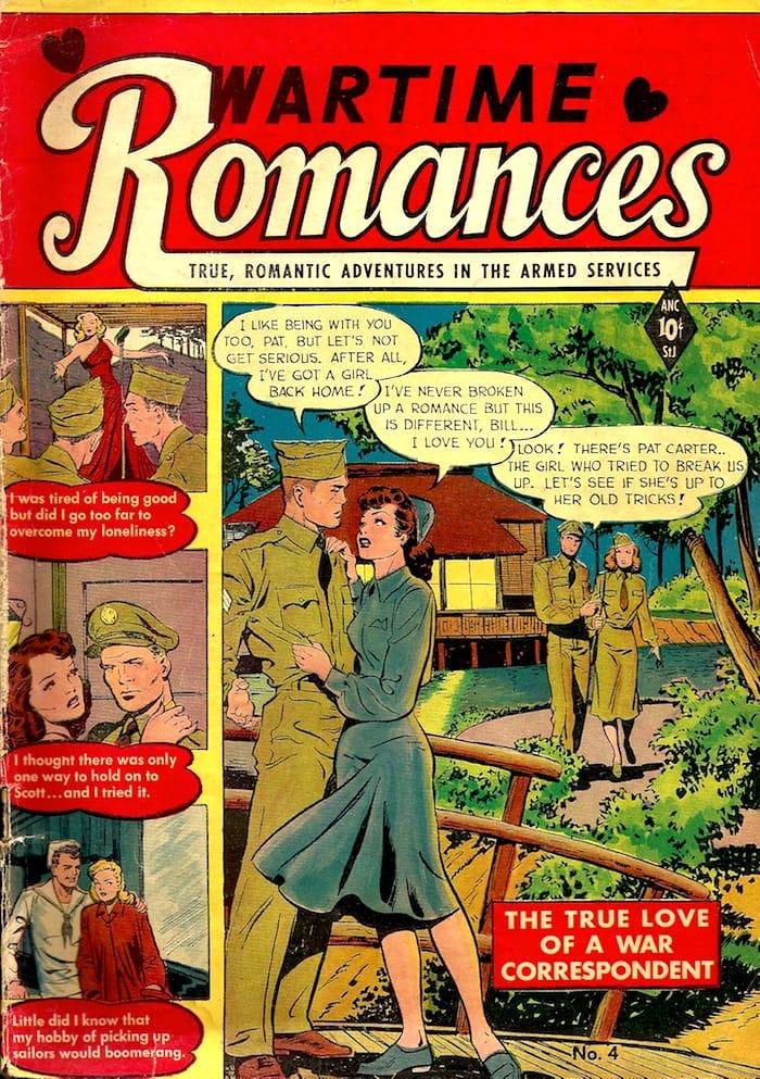 Wartime Romances #4 st. john 1950s golden age romance comic book cover by Matt Baker