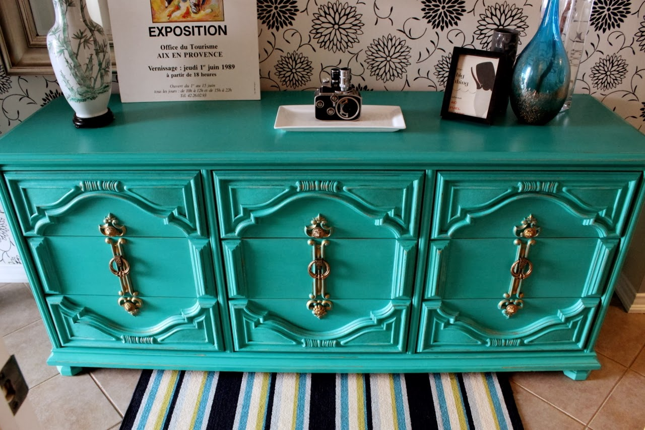 painted emerald green dresser gold hardware