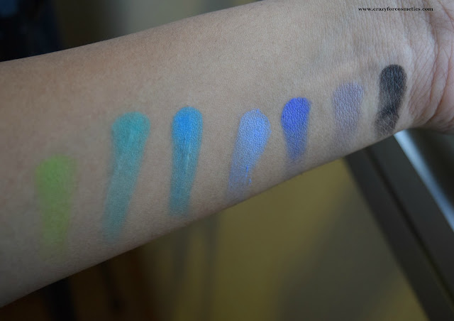 BH Cosmetics Modern Mattes 28 color eyeshadow palette Blue Swatches