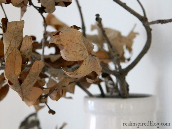 Decorating from the Yard  with a branch of dry fall leaves in a vase for autumn.