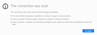 The connection to the server was reset while the page was loading.