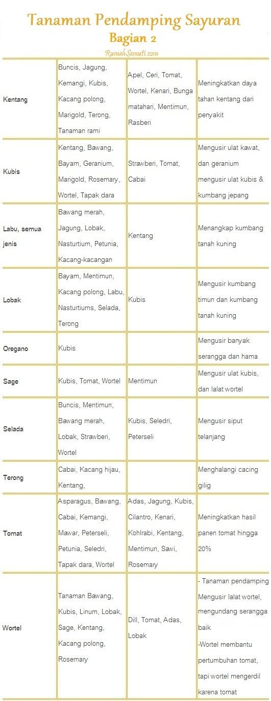 Daftar Tanaman Pendamping untuk Sayuran bag.2