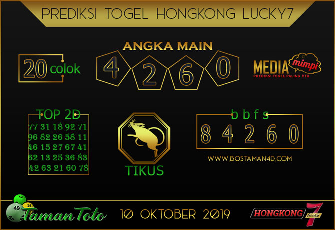 Prediksi Togel HONGKONG LUCKY 7 TAMAN TOTO 10 OKTOBER 2019