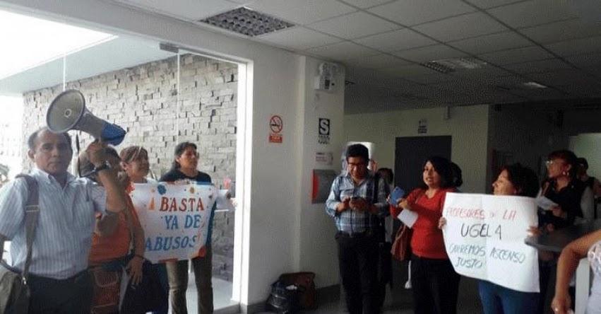 Docentes toman sede DRELM y denuncian errores en concurso de ascenso 2018