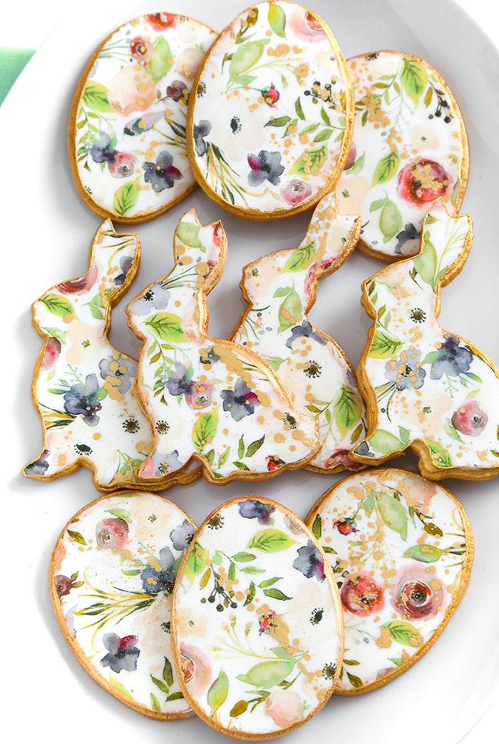 Floral Bunny and Egg Sugar Cookies