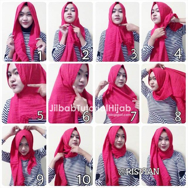 Cara Menggunakan Hijab Pashmina - tutorial hijab sehari hari 2016
