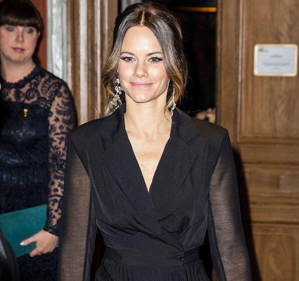 Princess Sofia wore Sandro blazer dress. Stinaa.J pumps, Susan Szatmary bag and Maria Nilsdotter's Cherry Blossom earrings in Silver