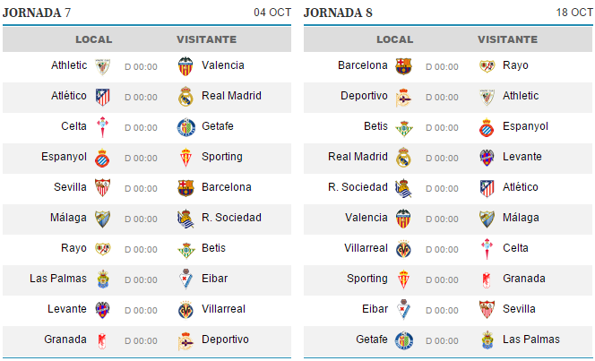Calendario De Liga Bbva 15 16.Calendario Liga Bbva Temporada 15 16 Yosisede Futbol Tu Blog De