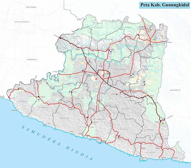 Peta Kabupaten Gunungkidul HD