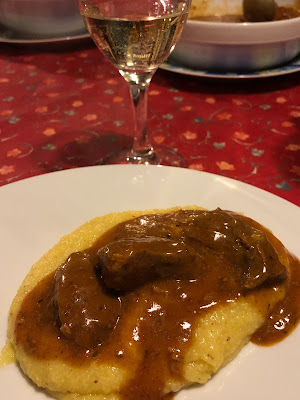 Dinner at Maso Sotciastel. Polenta with goulash.