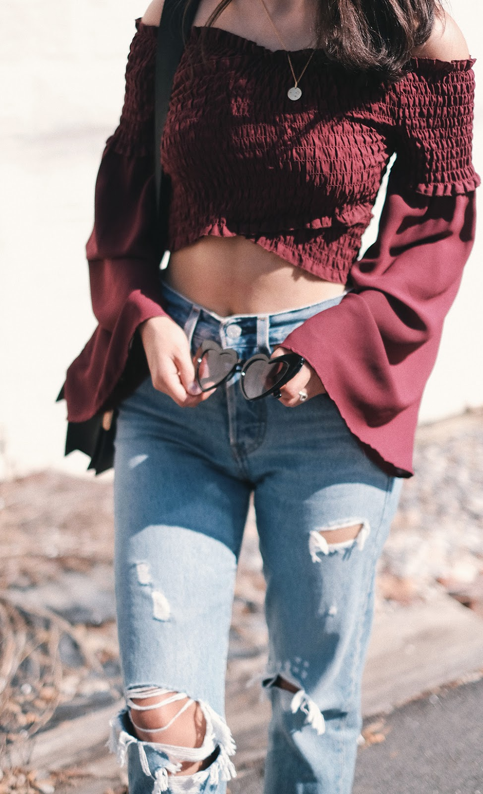 cateye heart sunglasses, levis authentically yours, off the shoulder flare sleeve top, fall outfit ideas denim