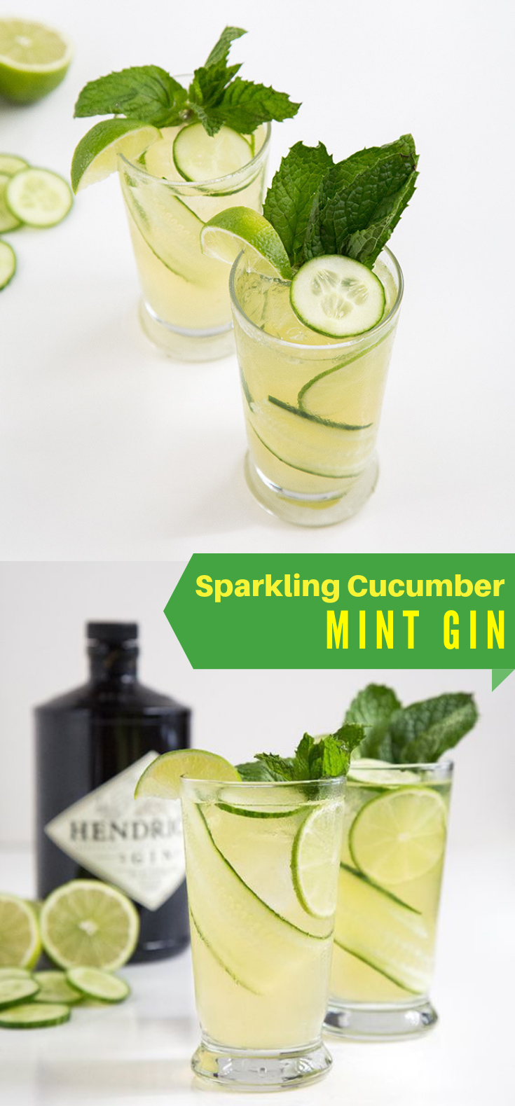 SPARKLING CUCUMBER MINT GIN #Drink #Cocktails