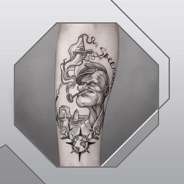 cool popeye hand tattoo