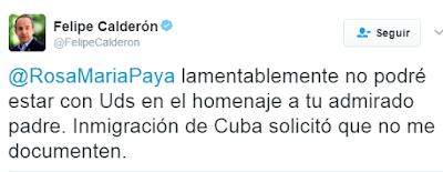 Niegan a ex-presidente Felipe Calderón ingresar al pais de Cuba