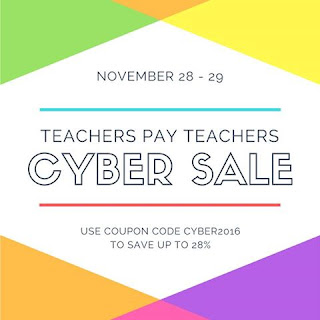 Teachers Pay Teachers Cyber Sale!  Get up to 28% off November 28 and 29!