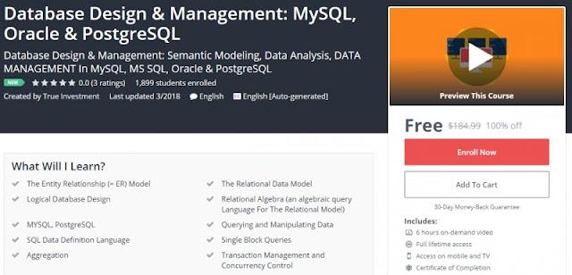 [100% Off] Database Design & Management: MySQL, Oracle & PostgreSQL| Worth 184,99$