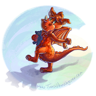 all rights reserve by Traci Van Wagoner for this cute little red dragon holding his favorite toy