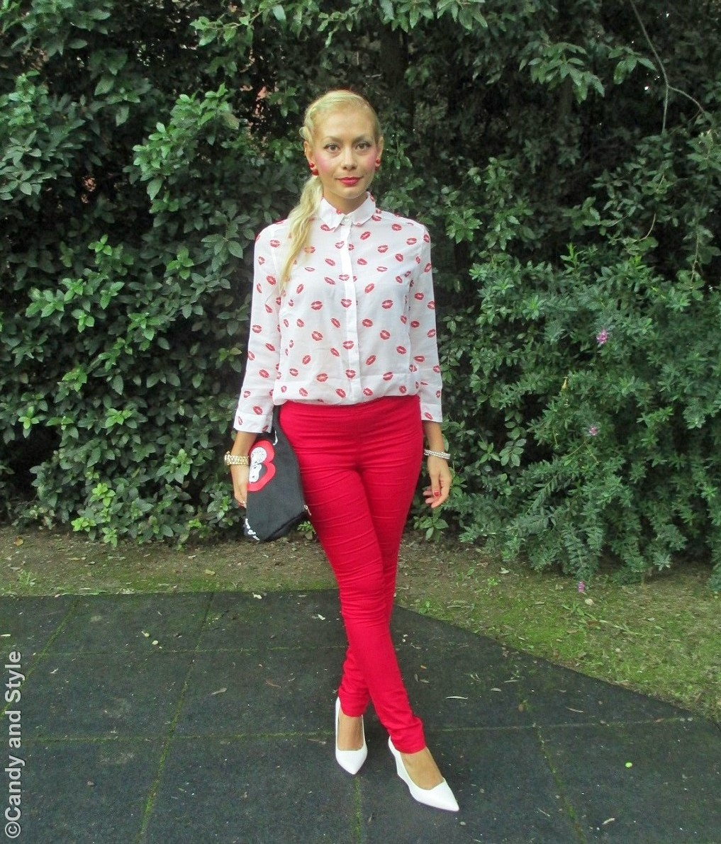LipsShirt, RedLeggings, WhiteWedges, Pouch, FrenchBraid - Lilli Candy and Style Fashion Blog