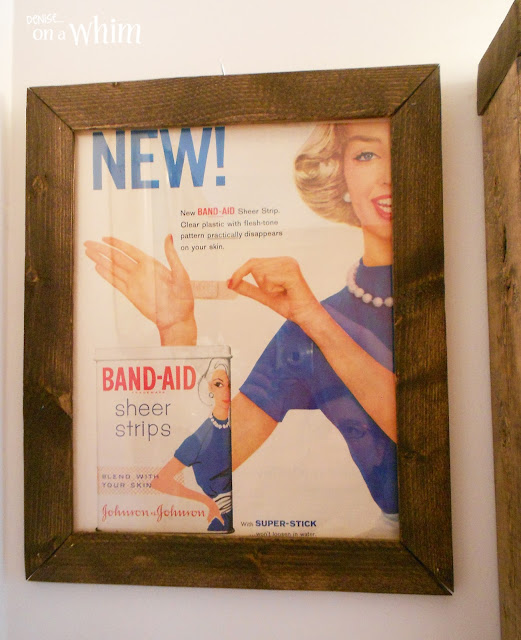 Framed Vintage Band-Aid Magazine Ad | Vintage Farmhouse Bathroom Makeover | Denise on a Whim