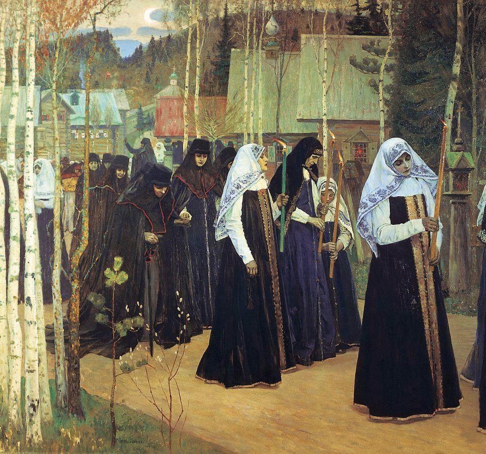 Tomando o Véu - Pinturas de Mikhail Nesterov - (Simbolismo) Russo