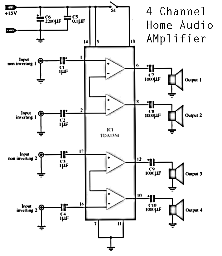 4 Channels Home Audio Power Amplifier | DIY Circuit