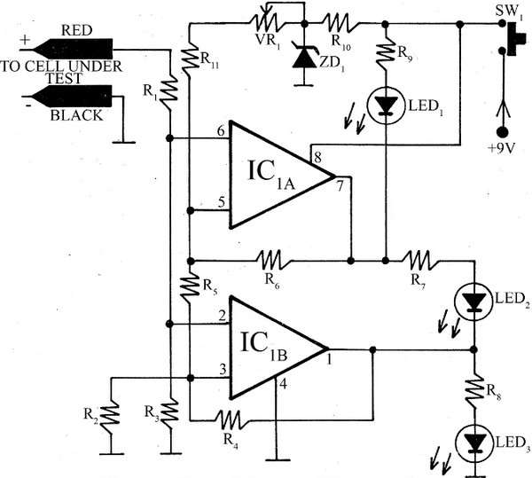 universal battery tester circuit using tl072cd ic
