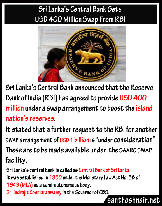 Sri Lanka's Central Bank gets USD 400 Million Swap from RBI