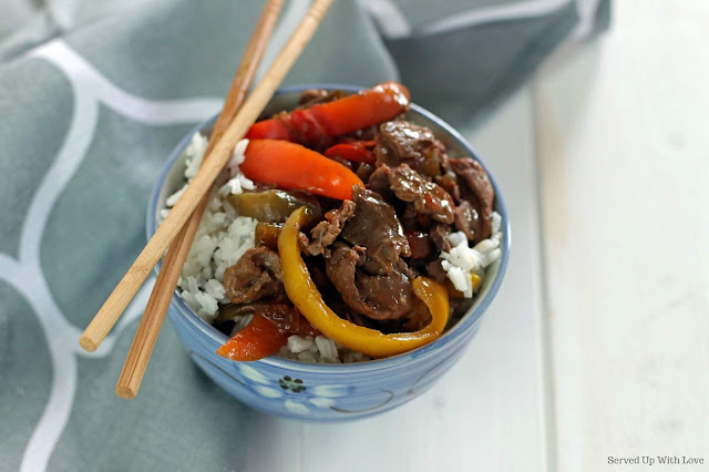 Easy Crock Pot Pepper Steak recipe from Served Up With Love