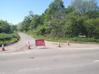 Photograph of Bradmore Lane closed at the Station Road end. Image by North Mymms News released under Creative Commons BY-NC-SA 4.0