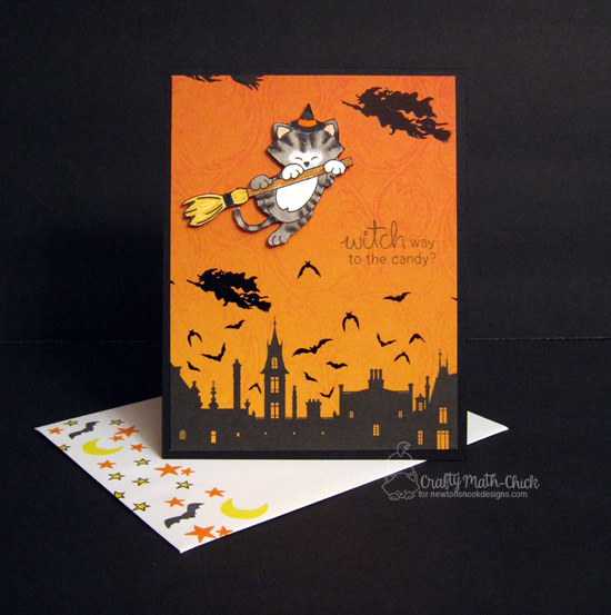 Halloween cat card by Crafty Math-Chick | Newton's Boo-tiful Night Stamp set by Newton's Nook Designs #newtonsnook #halloween