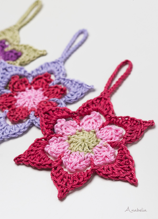 Crochet Christmas Star ornament pattern, Anabelia Craft Design